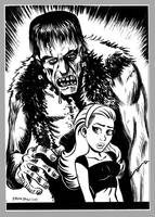 Mini Monster Ink Brush Drawing 1 Frankenstein by BryanBaugh