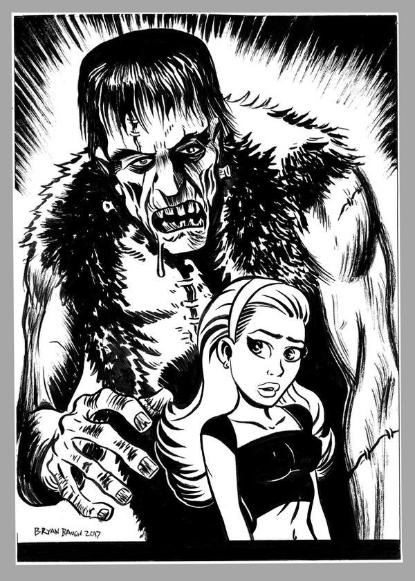 Mini Monster Ink Brush Drawing 1 Frankenstein by BryanBaugh