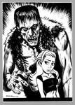 Mini Monster Ink Brush Drawing 1 Frankenstein