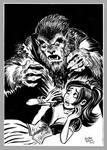 Mini Monster Ink Brush Drawing 2 Wolfman