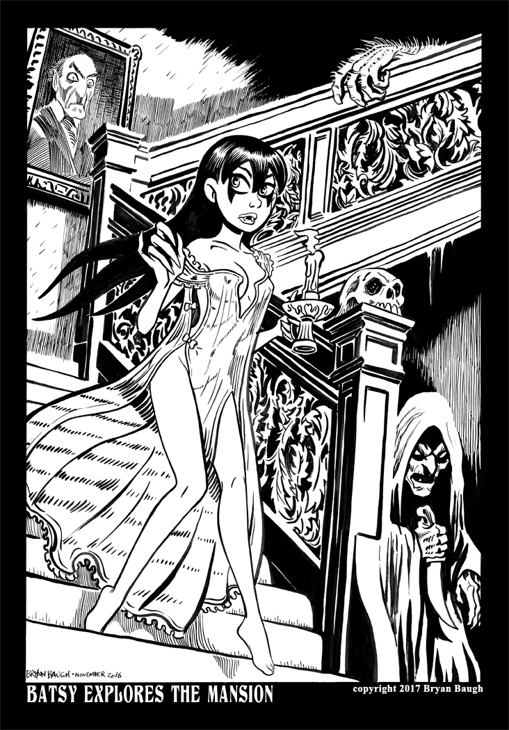 Batsy Explores the Mansion LR by BryanBaugh