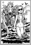 Mini Monster Ink Brush Drawing 7 Summer Sea Beast
