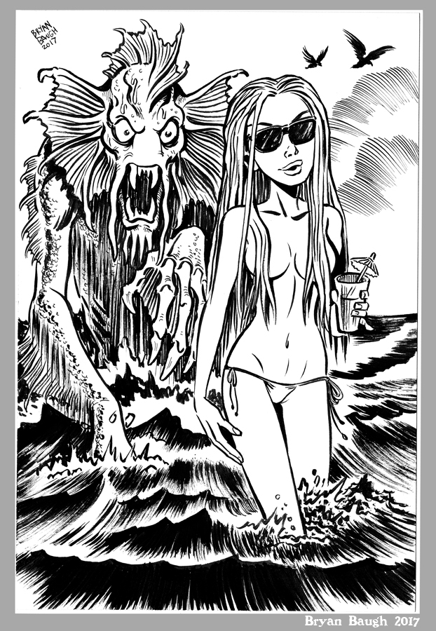 Mini Monster Ink Brush Drawing 7 Summer Sea Beast  by BryanBaugh