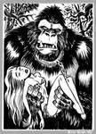 Mini Monster Ink Brush Drawing 8 Gorilla