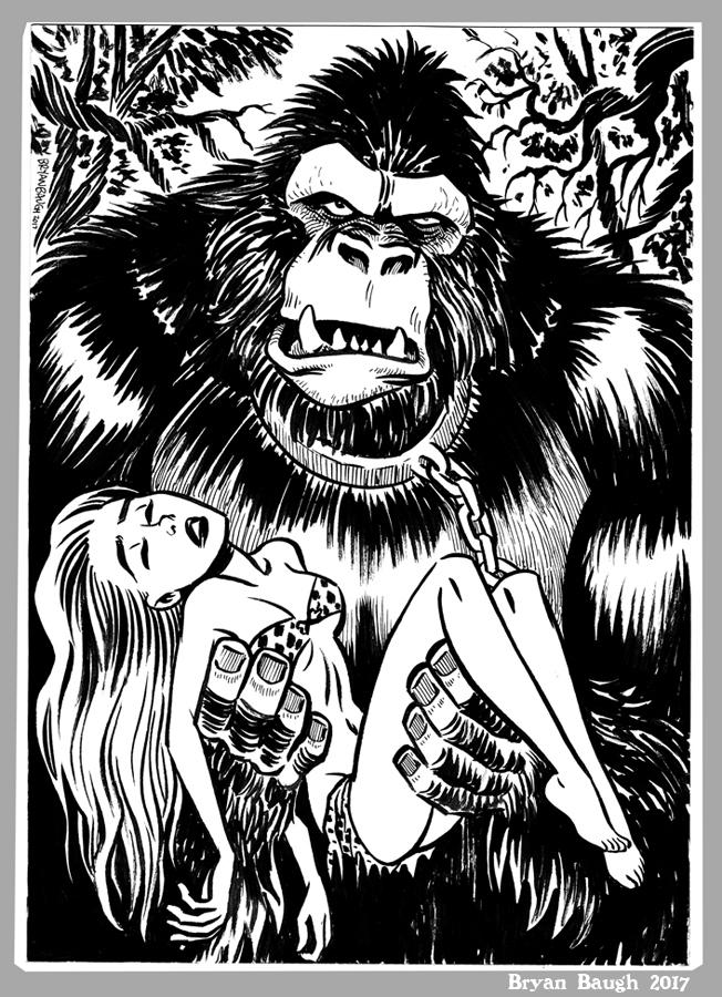Mini Monster Ink Brush Drawing 8 Gorilla by BryanBaugh