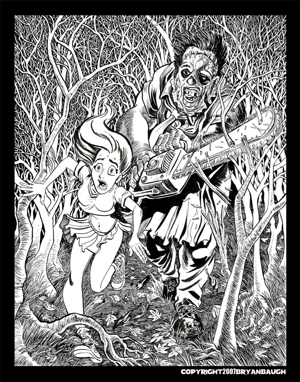 Texas chainsaw black and white by bryanbaugh on deviantart for Chainsaw coloring pages