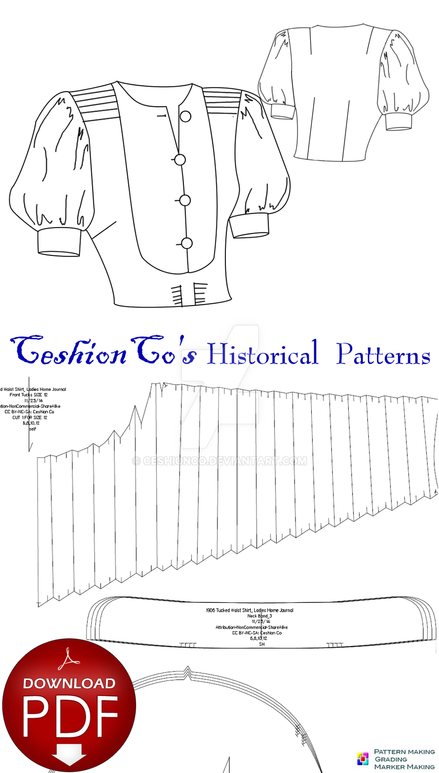 Free 1930s BIB Blouse PDF Pattern by CeshionCo on DeviantArt