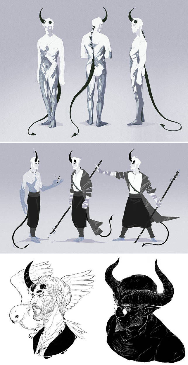 DnD: Sorcerer Tiefling Otho sketchdump by coupleofkooks