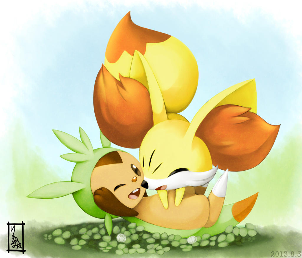 chespin and fennekin by pixivalt on deviantart