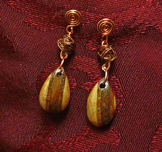 Laminate Earrings with Copper Beads by Fandragon