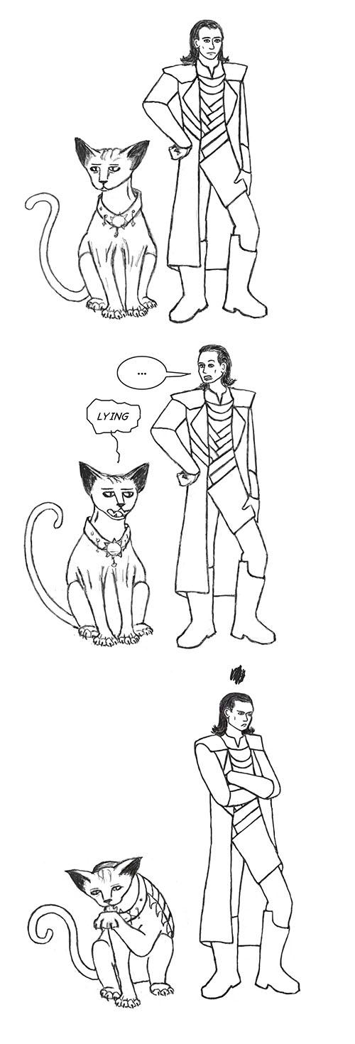 Loki and Lying Cat by Fandragon