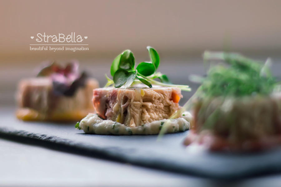 Corn fed chicken and ham hock terrine by Slairea