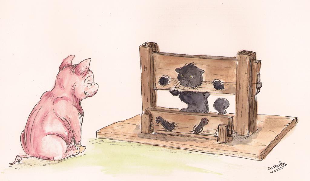 Cat in stocks by Corbelette