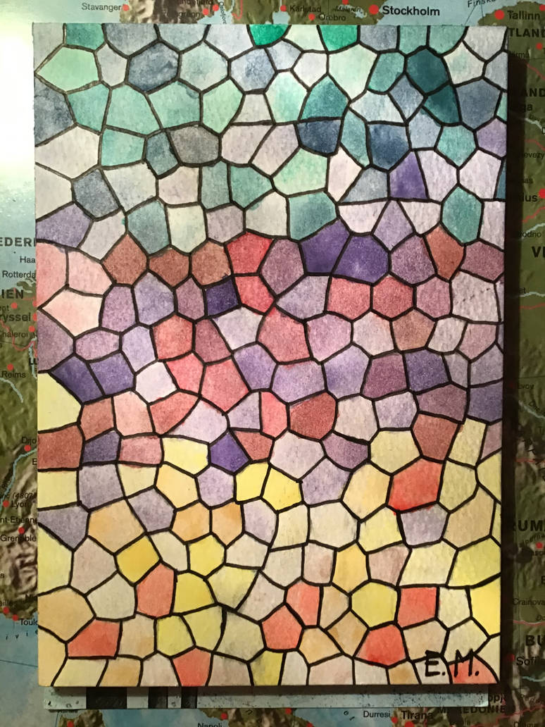 Turquoise, ruby and topaz mosaic