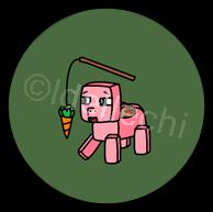 Minecraft Pig Button 1.5 Inch by Idellechi