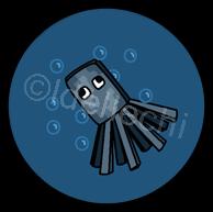 Minecraft Squid Button 1.5 Inch by Idellechi