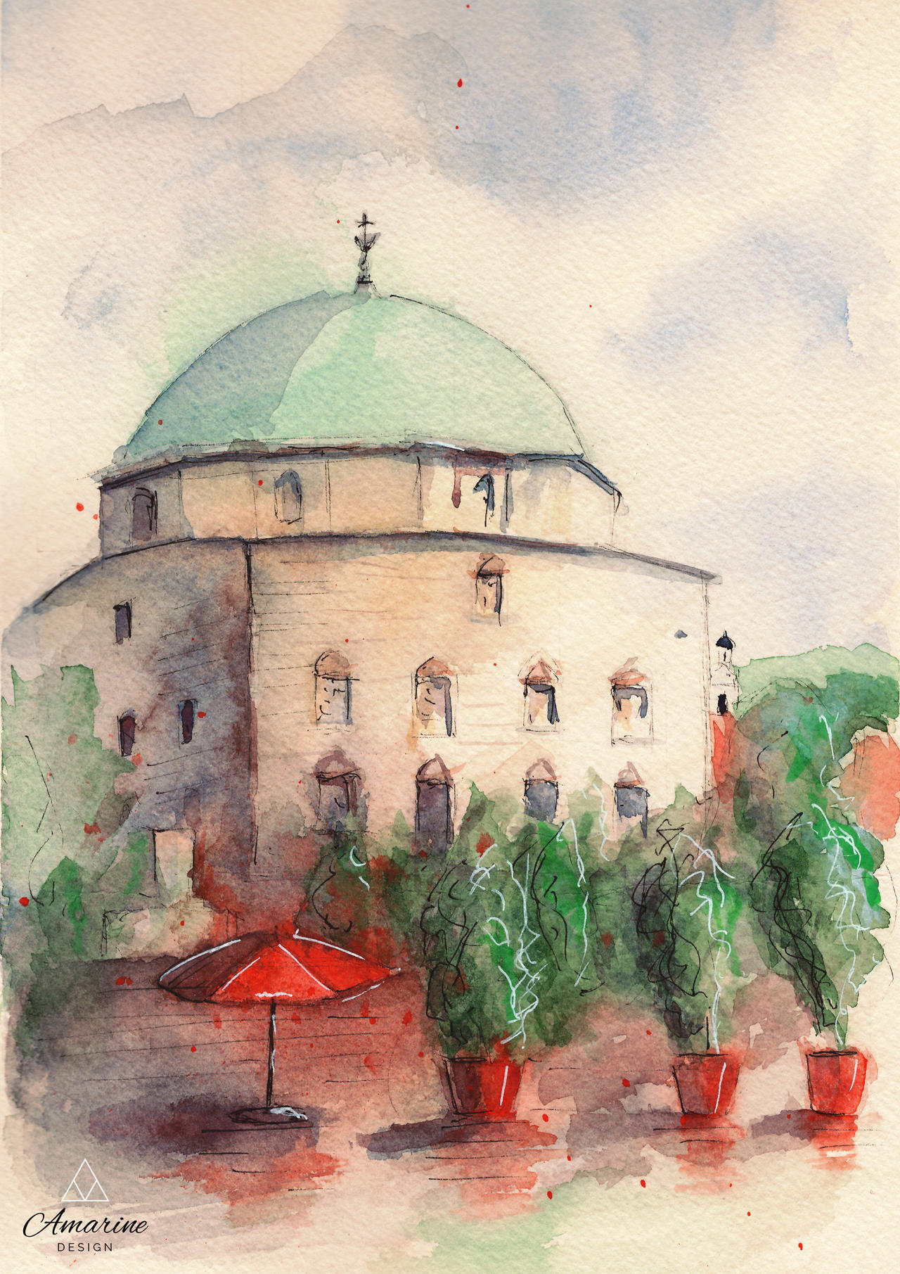 Mosque of Pasha Qasim (Pecs) - Watercolor Painting