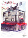 Japanese House Watercolor Painting