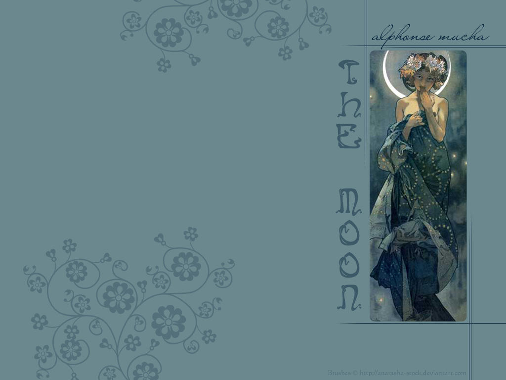 Alphonse Mucha, The Moon by Emhain