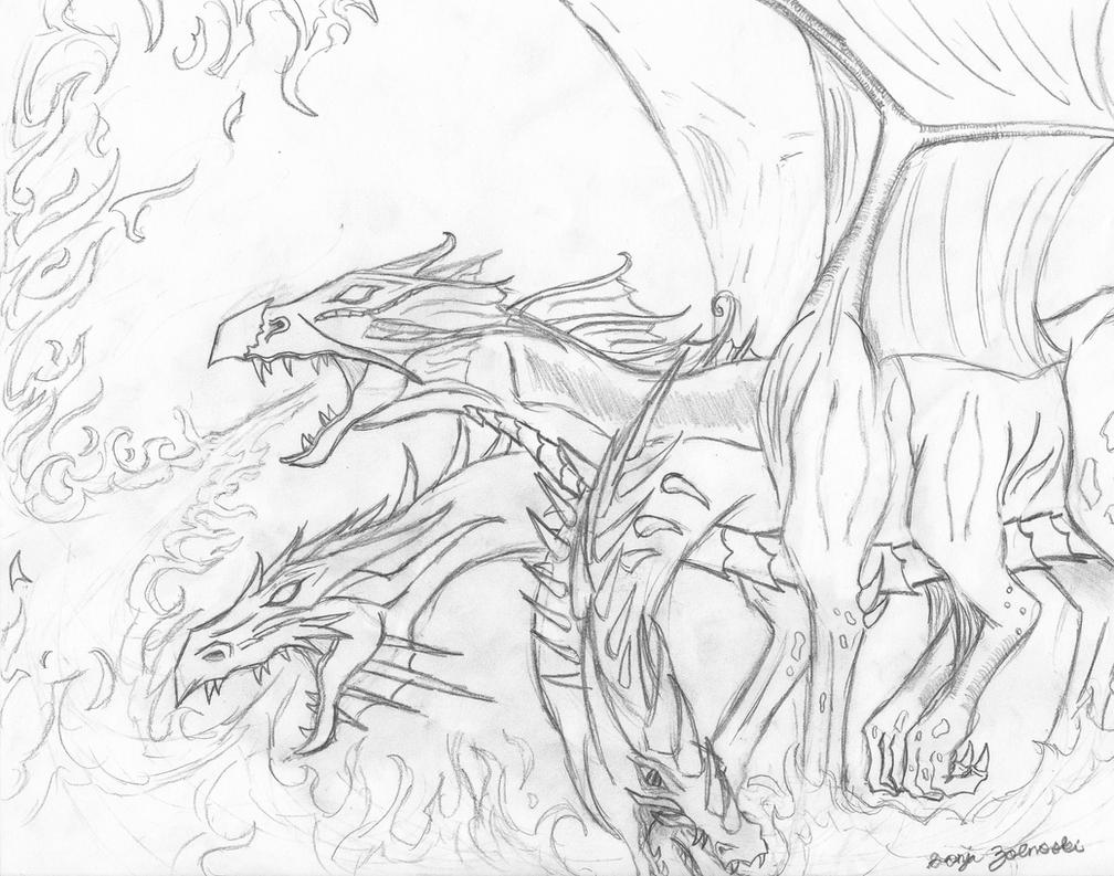 Three headed hydra breathing fire by Blue-Fire-Dragon on ...