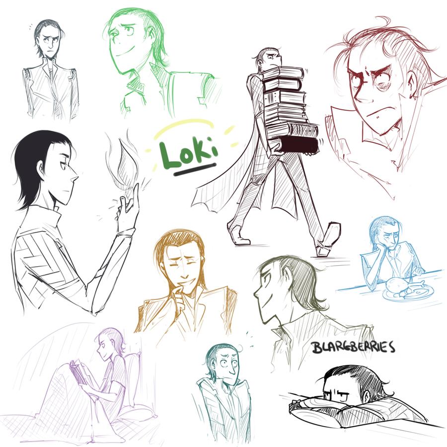 Loki Sketch Dump by blargberries