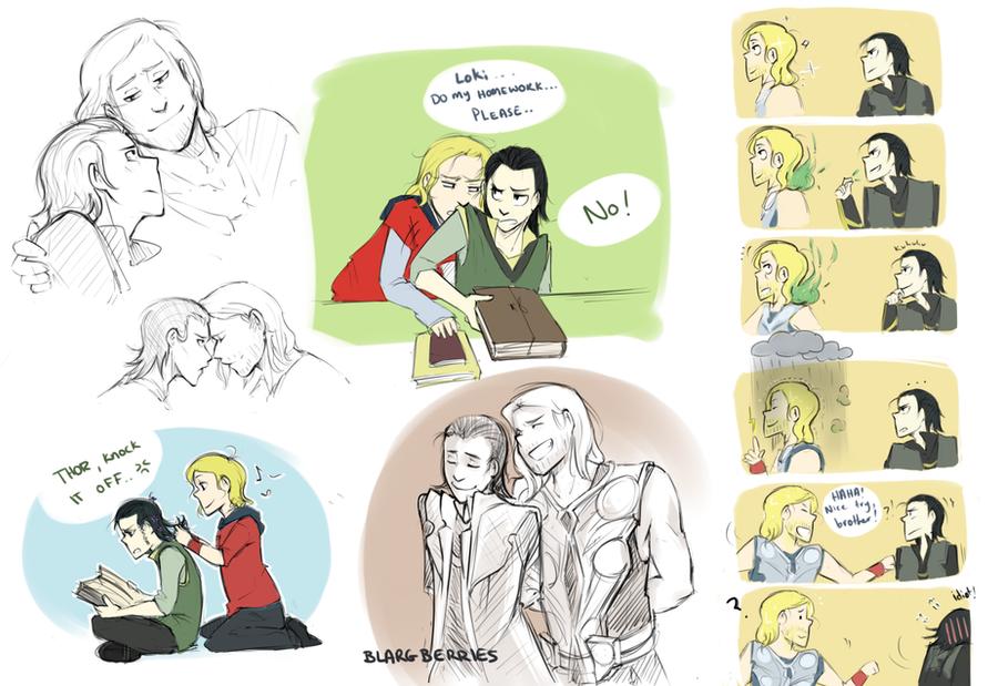 Thor and Loki Drawings by blargberries