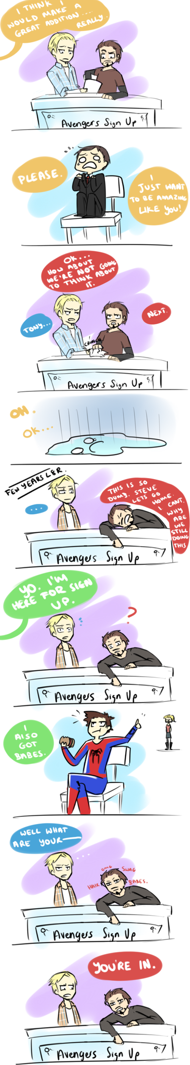 Avengers Sign Up by blargberries