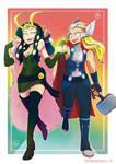 Lady Thor and Loki
