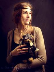 Lady with a teddy bear by Onyria
