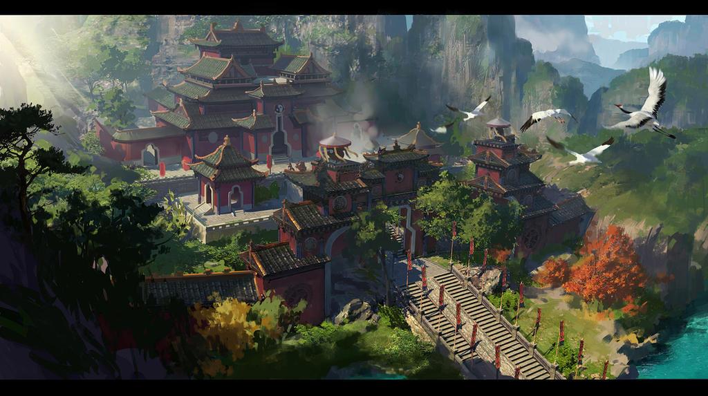 Taoist temple2 by dawnpu on deviantart for Mountain designs garden city
