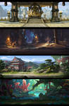 Four mobile game backgrounds