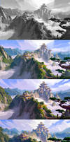 my painting process for huashan by dawnpu