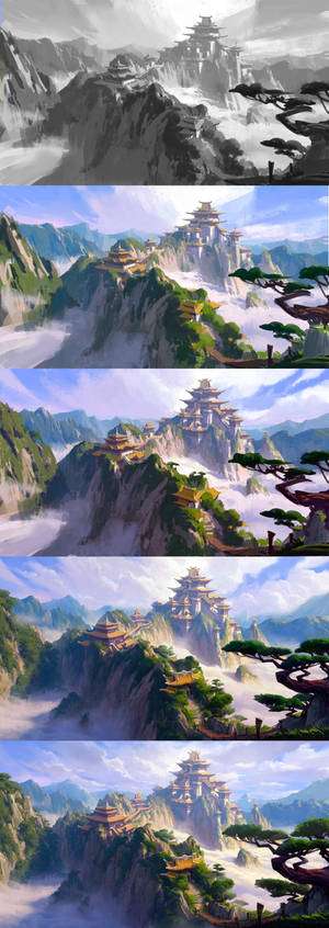 my painting process for huashan