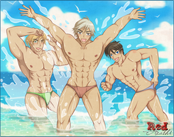 [OC] The Hunk Trio's Refreshing Summer by RedArashi