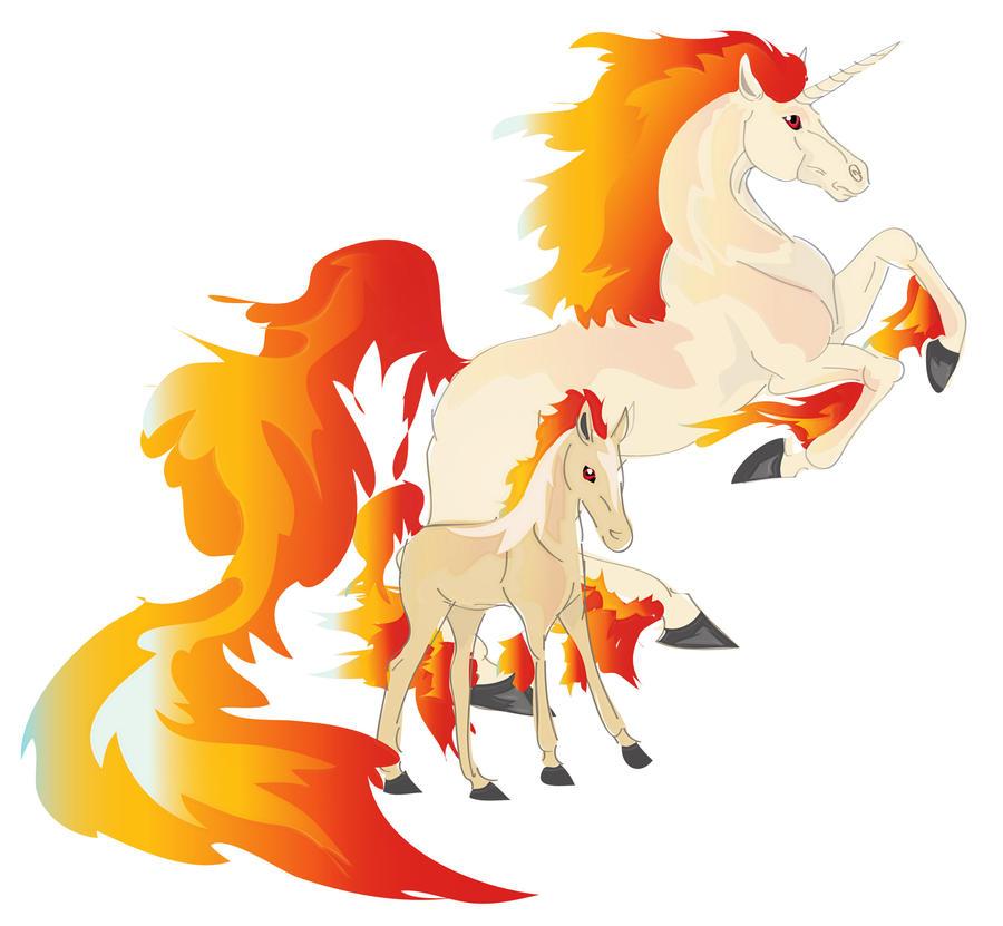 Rapidash_and_Ponyta_foal_by_Iolandria.jpg