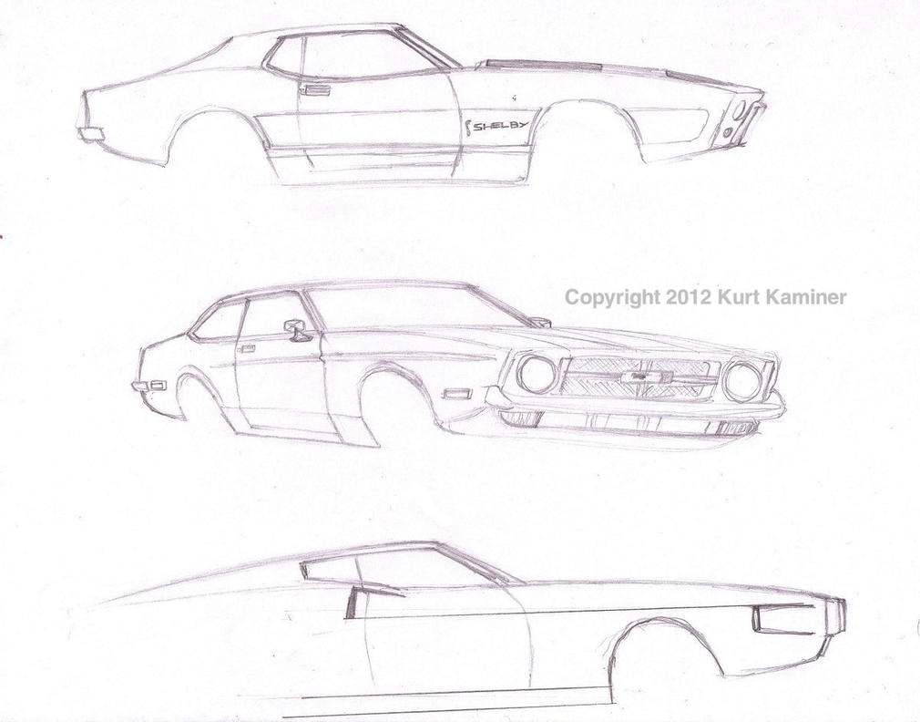 1971 ford mustang styling concept sketches by cudak888 on