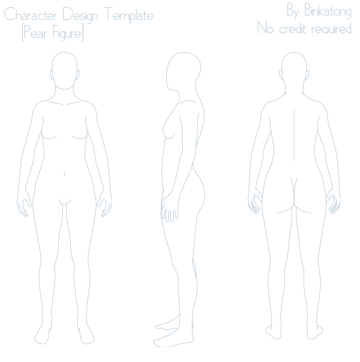 Character design template pear figure by binkatong on for Manga character template