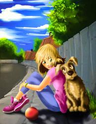 Girl and Dog - Heather