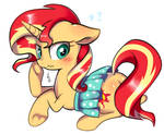 Sunset Shimmer is wearing a dress