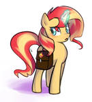 Sunset with her bag