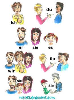 The German personal pronouns - visualization