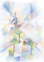 Church of Budaors based on Monet and Feininger by CyanilurusJubatus