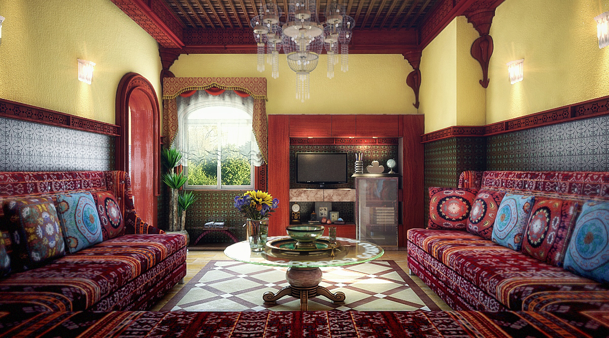 Moroccan living room the full scene version by m salman for Moroccan living room furniture 01