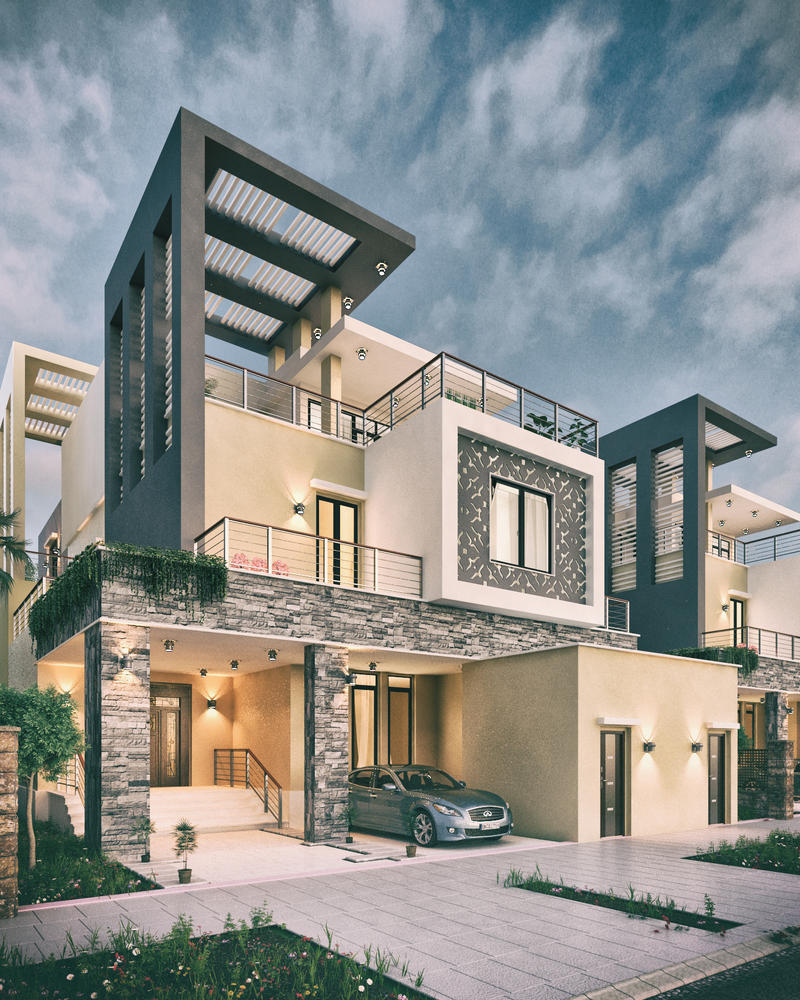 Private villa facades design ksa by m salman on deviantart for Facade villa moderne