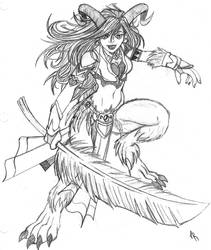 Satyr with a Big Feather by Jackwrench
