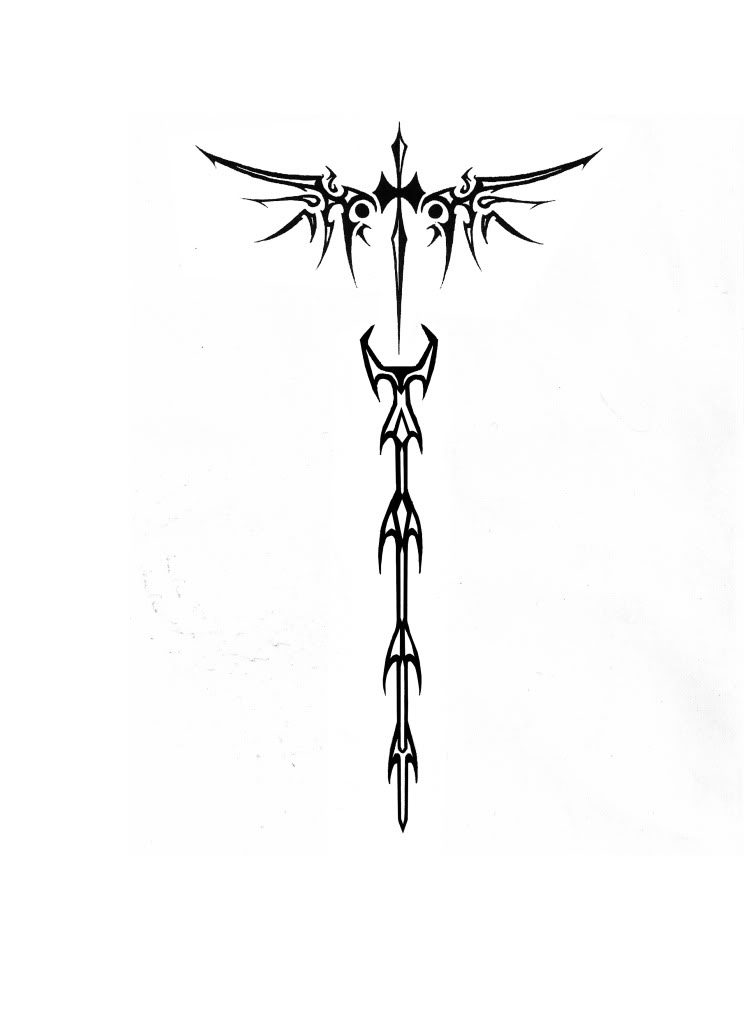 wing tattoosTribal Cross With Tribal Wings