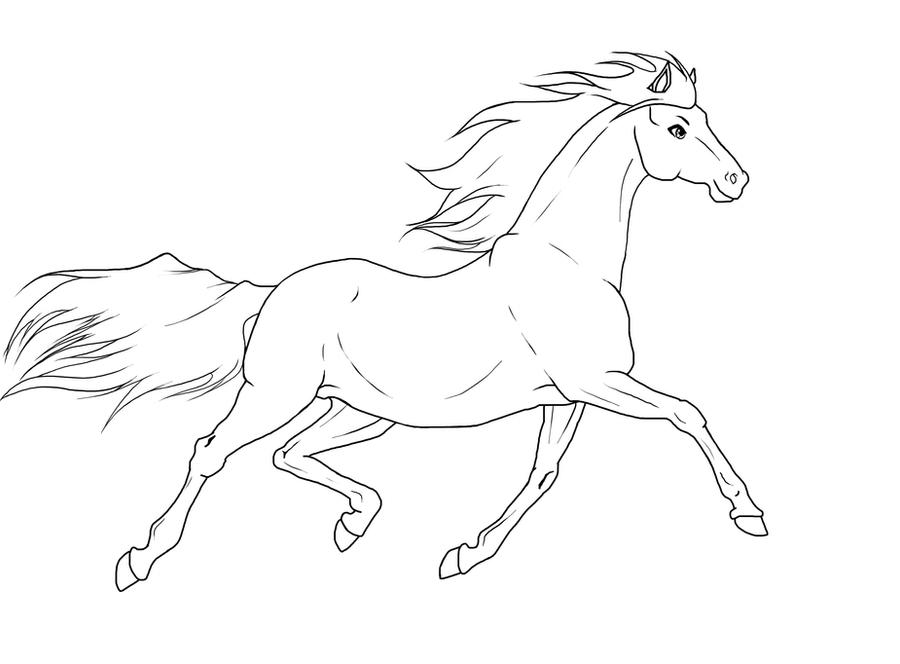 Trotting Horse -lineart- by BloodyLys on DeviantArt