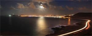 Moonrise over Las Palmas City