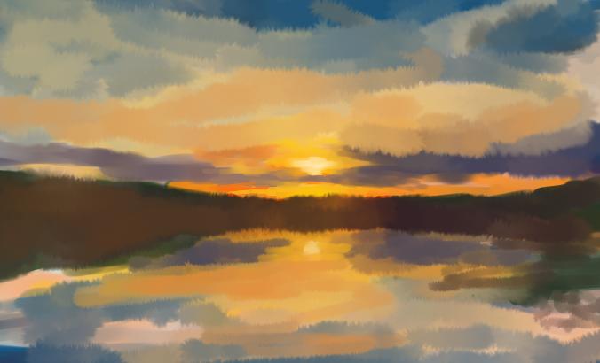 Sunset Lake Study by Miziziziz