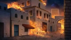 burned city